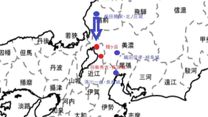 賤ヶ岳の戦いの地図